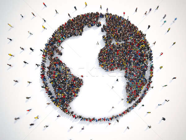Many people together around the world. 3D Rendering Stock photo © alphaspirit