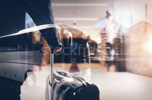 Bus on the road at night with city landscape. 3D rendering Stock photo © alphaspirit
