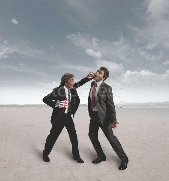 Zakenlieden boksen uitdagen twee hand woestijn Stockfoto © alphaspirit
