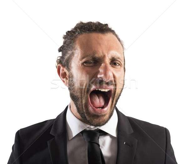 Dühös üzletember sikít portré mérges arc Stock fotó © alphaspirit