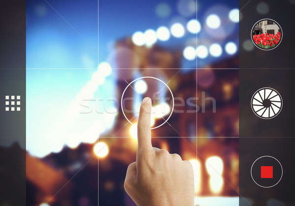 Photograph with touch screen Stock photo © alphaspirit