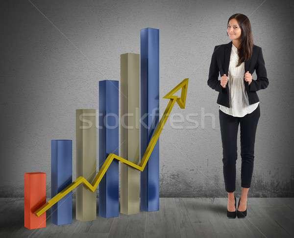 Femme d'affaires fier bon financière budgétaire femmes Photo stock © alphaspirit