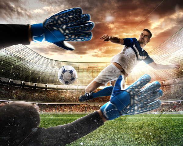 Foto stock: Goleiro · bola · estádio · futebol · combinar · grama