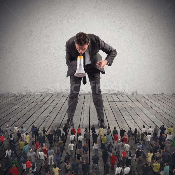 Сток-фото: 3D · большой · человек · мегафон