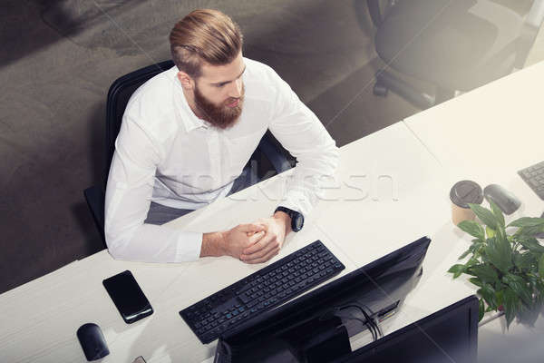 Businessman in office connected on internet network. concept of startup company Stock photo © alphaspirit
