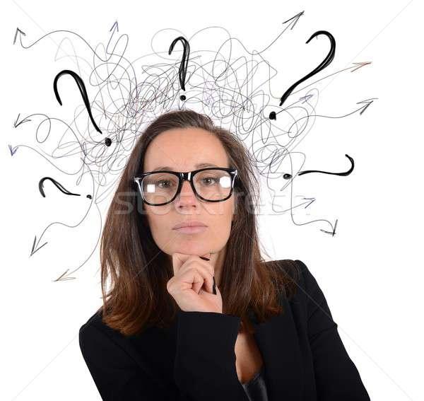 менеджера деловая женщина работу очки портрет Сток-фото © alphaspirit
