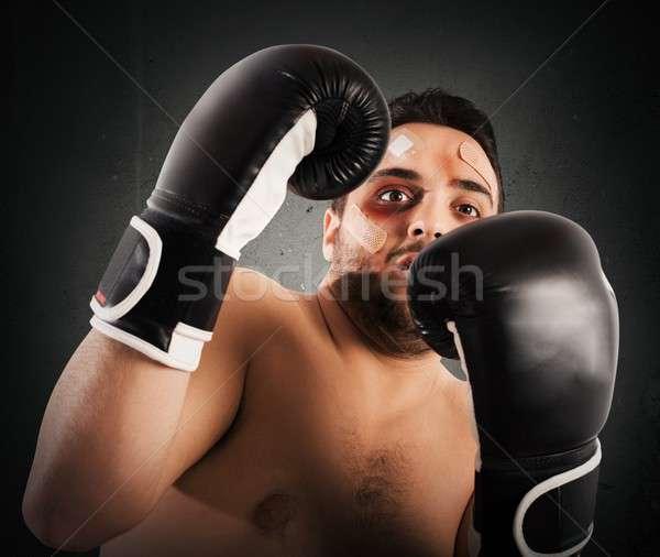 Przestraszony bokser człowiek walki strach boks Zdjęcia stock © alphaspirit