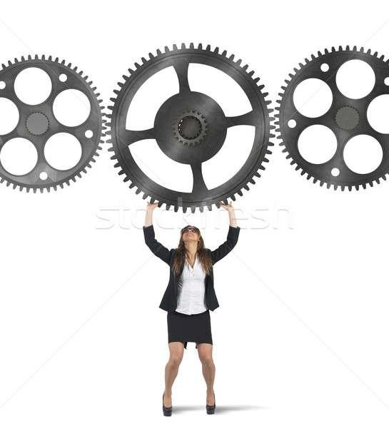 Integratie zakenvrouw versnelling ander versnellingen Stockfoto © alphaspirit