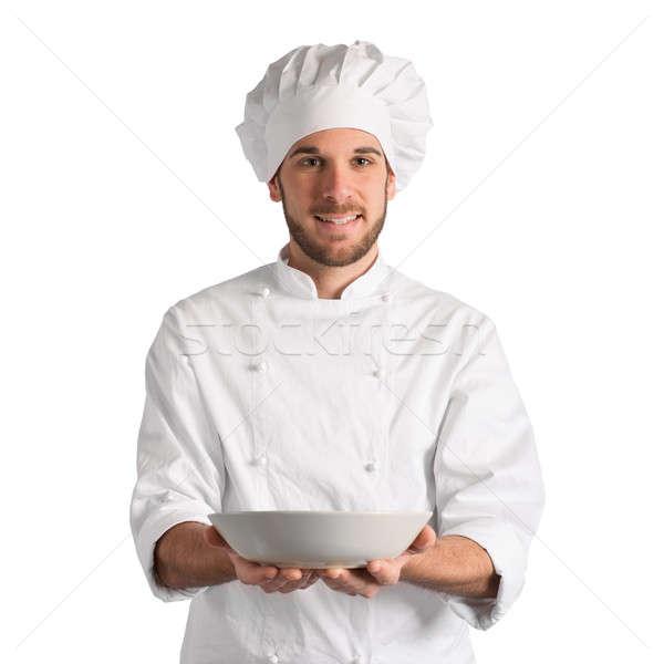 Chef schotel gelukkig plaat voedsel Stockfoto © alphaspirit
