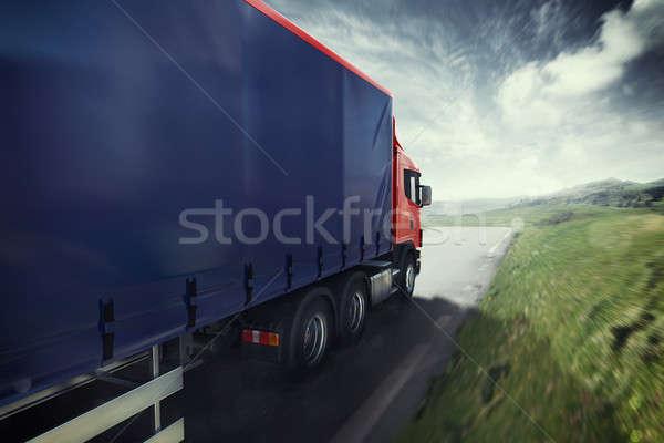 Truck on the road 3D Rendering Stock photo © alphaspirit