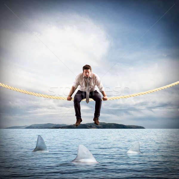 Trudny ryzyko działalności człowiek posiedzenia Zdjęcia stock © alphaspirit