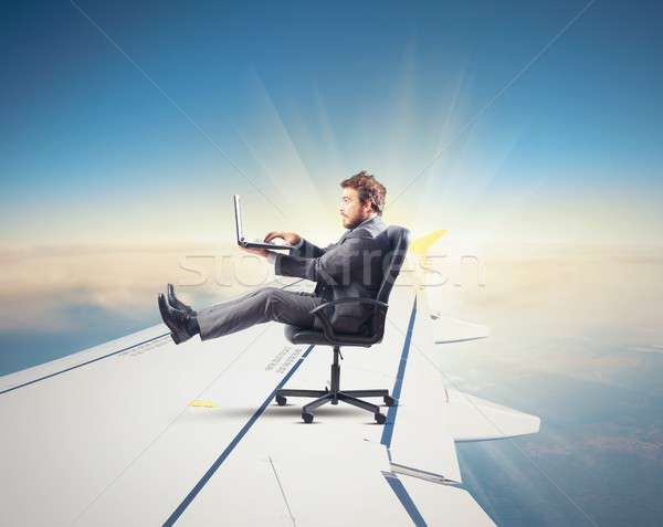 Fast internet as aircraft Stock photo © alphaspirit