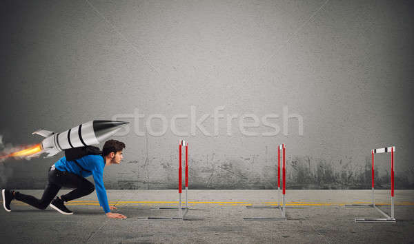 Student overcomes obstacles of his studies at top speed with a rocket Stock photo © alphaspirit
