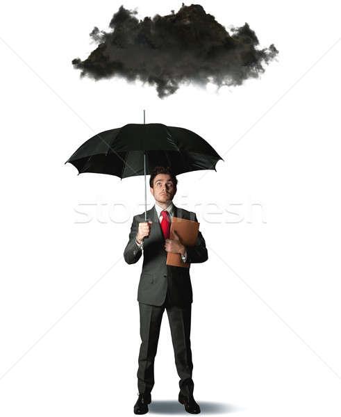 Business zakenman regen triest succes stress Stockfoto © alphaspirit