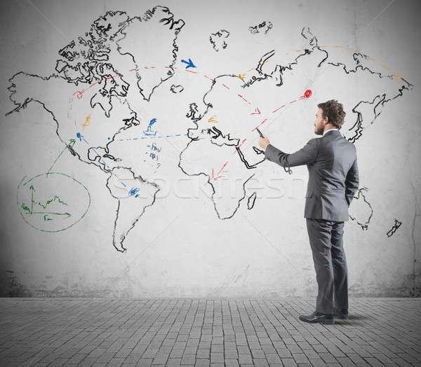 Negocio global empresario mapa del mundo mundo mapa habitación Foto stock © alphaspirit