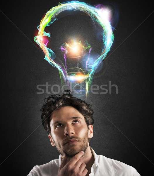 Parlak fikir işadamı ampul adam Stok fotoğraf © alphaspirit