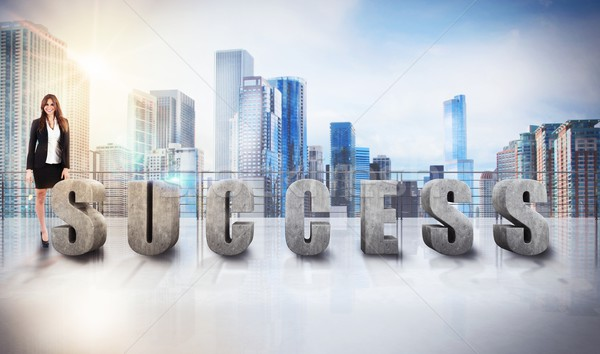 Businesswoman success view Stock photo © alphaspirit