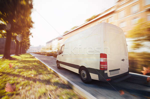 Deliveries truck in the city . 3D Rendering Stock photo © alphaspirit