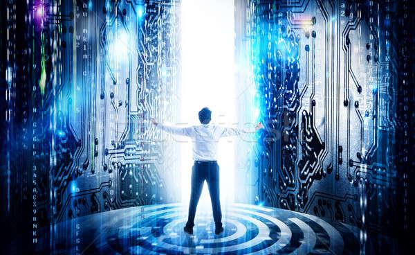 Erfolgreich Geschäftsmann Integration futuristisch Mikrochip Internet Stock foto © alphaspirit