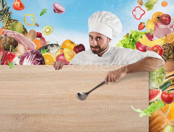 повар совета овощей улыбаясь ковш бумаги Сток-фото © alphaspirit