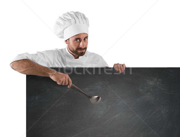 シェフ ひしゃく ボード 笑みを浮かべて 紙 食品 ストックフォト © alphaspirit