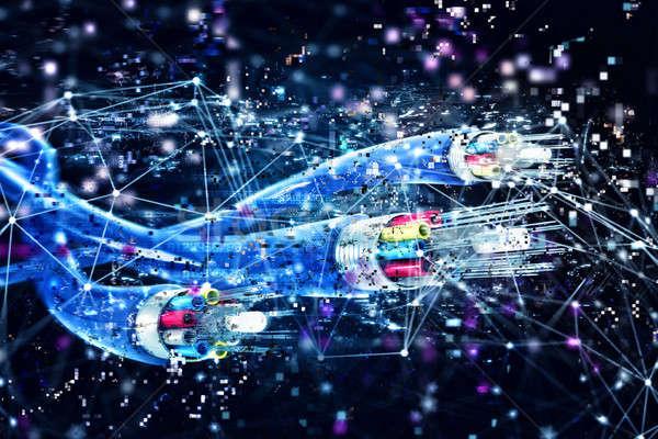 接続 オプティカル 繊維 高速 インターネット 3dのレンダリング ストックフォト © alphaspirit