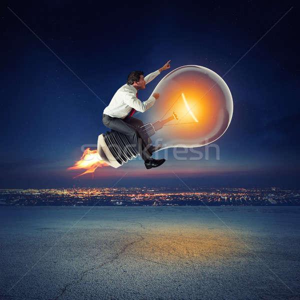 Groß Business Idee 3D Rendering Geschäftsmann Stock foto © alphaspirit