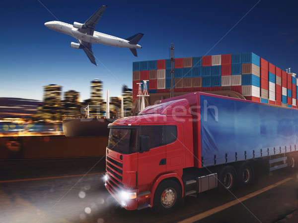 Fast truck on road delivering at night with cargo and airplane in background. 3D Rendering Stock photo © alphaspirit