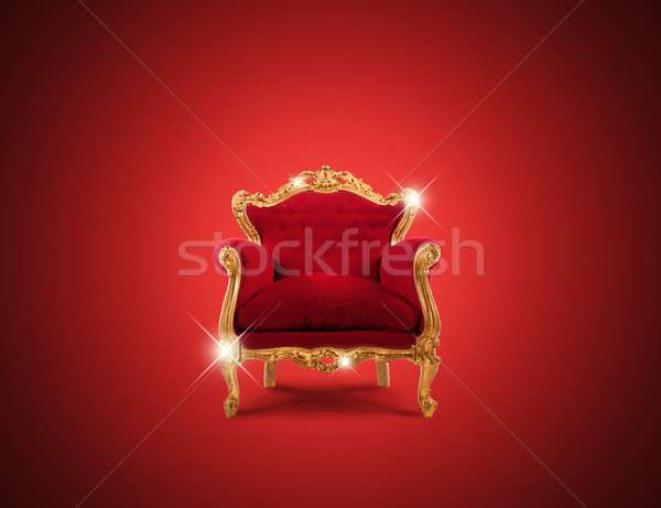 Luksusowe fotel złoty czerwony aksamitu Zdjęcia stock © alphaspirit