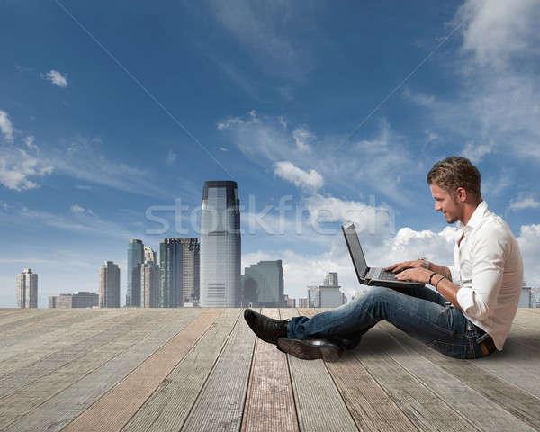 Freedom boy working outdoor Stock photo © alphaspirit