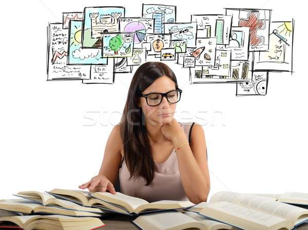 Girl studying academic subjects Stock photo © alphaspirit