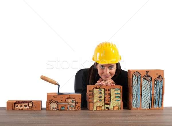 Növekedés lakóövezeti építkezés tégla nő otthon Stock fotó © alphaspirit