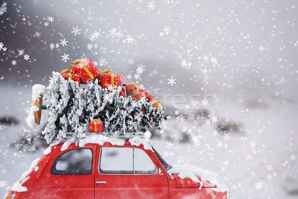 3D Rendering xmas  car travel Stock photo © alphaspirit