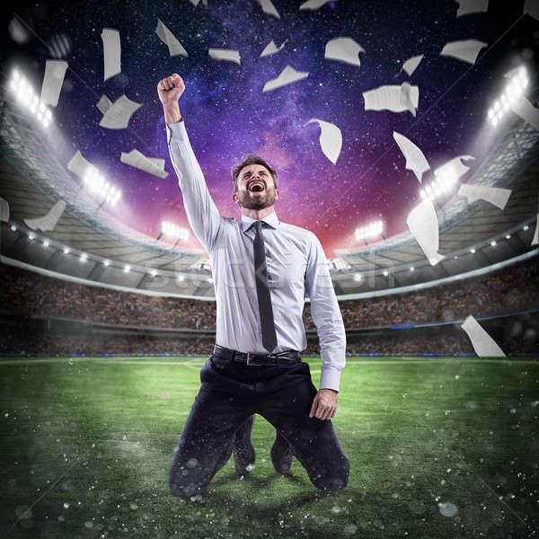 üzletember gazdasági siker játszótér stadion üzlet Stock fotó © alphaspirit