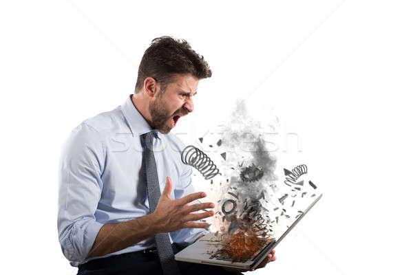 подчеркнуть разочарование компьютер бизнесмен огня ноутбука Сток-фото © alphaspirit
