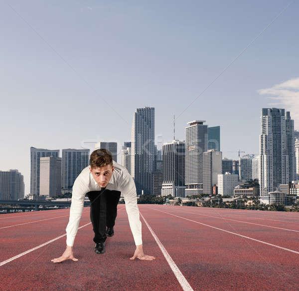 Empresário como corredor competição desafiar negócio Foto stock © alphaspirit