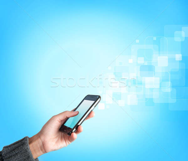 Stockfoto: Mobiele · telefoon · streaming · telefoon · Blauw · communicatie · digitale