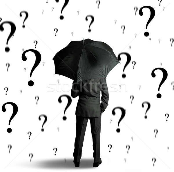Geschäftsmann Fragen Business Arbeit traurig helfen Stock foto © alphaspirit