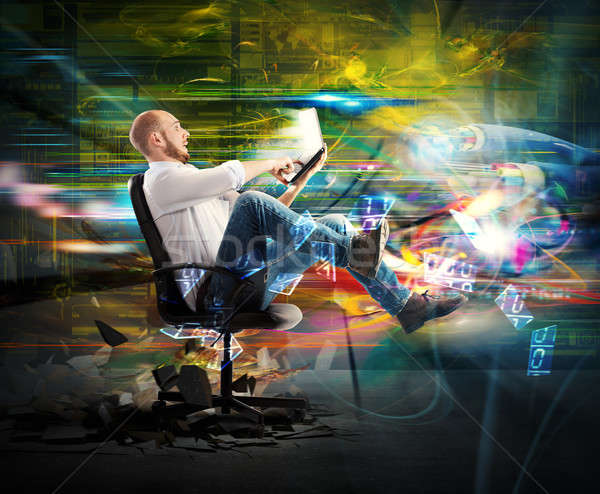Súper rápido conexión empresario rápidamente Foto stock © alphaspirit