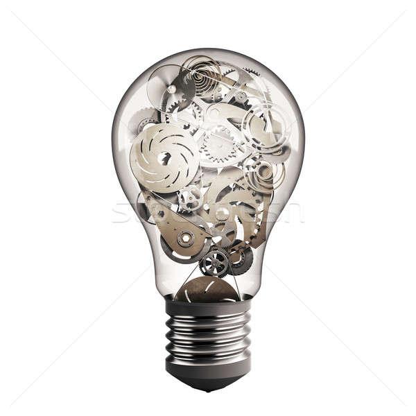 Viselet villanykörte villanykörte fény gépi sebességváltó Stock fotó © alphaspirit
