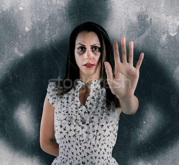 Stoppen vrouw geweld bang schaduw man Stockfoto © alphaspirit