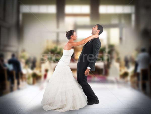 Rossz házasság mérges feleség ijedt vőlegény Stock fotó © alphaspirit
