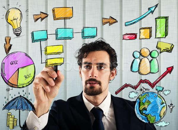 Projeto análise de negócios empresário plano homem rede Foto stock © alphaspirit