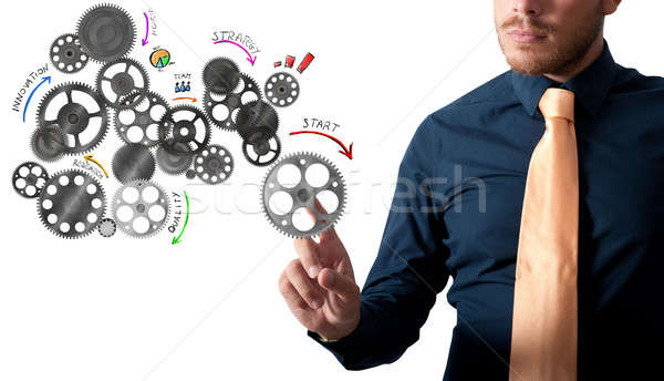分析 プロジェクト 歯車 メカニズム ビジネスマン 触れる ストックフォト © alphaspirit