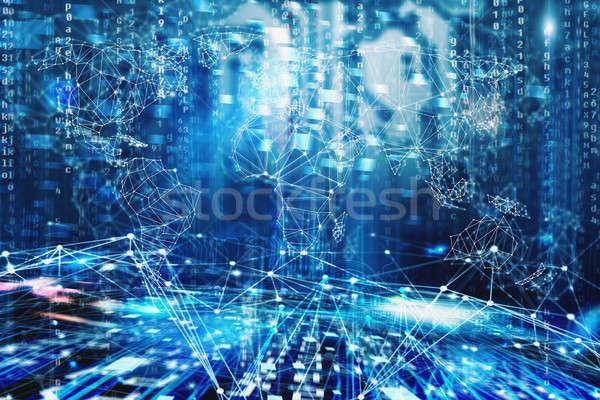 Partout dans le monde internet réseau numérique effet affaires Photo stock © alphaspirit
