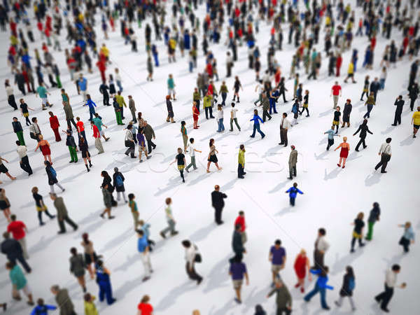 Tilt shift focus on a large group of people. 3D Rendering Stock photo © alphaspirit