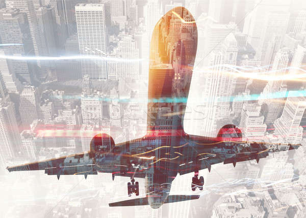 Take off of an aircraft with double exposure of airport Stock photo © alphaspirit