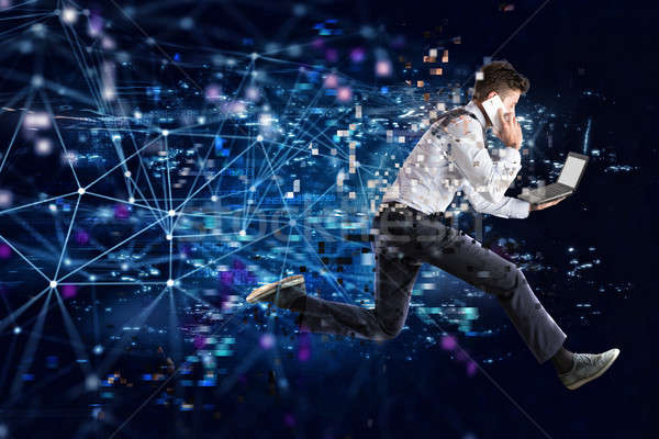Fast internet connection concept with running businessman Stock photo © alphaspirit