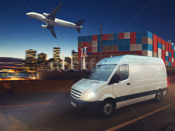 Stock photo: Fast van on road delivering at night with cargo and airplane in background. 3D Rendering