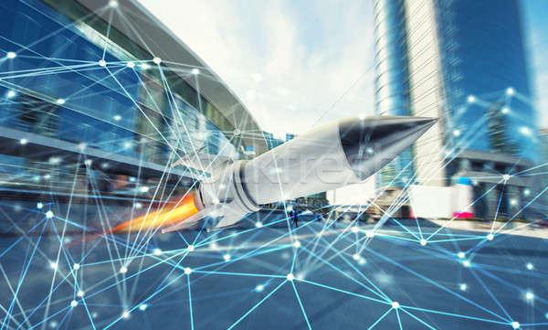 Roket uçmak hızlı Internet bağlantı ağ Stok fotoğraf © alphaspirit